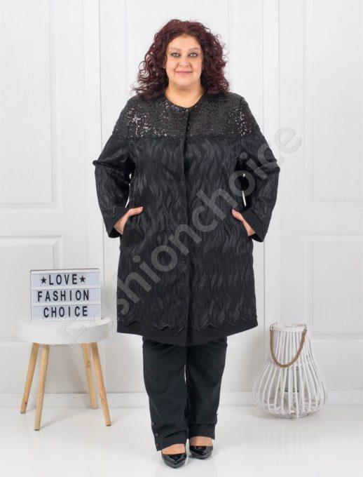 Εντυπωσιακό παλτό με παγιέτες στους ώμους κωδ 3657