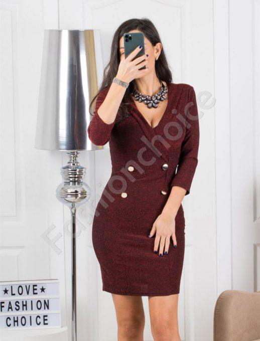 Μπορντό κρουαζέ φόρεμα lurex με διπλά κουμπιά κωδ 326