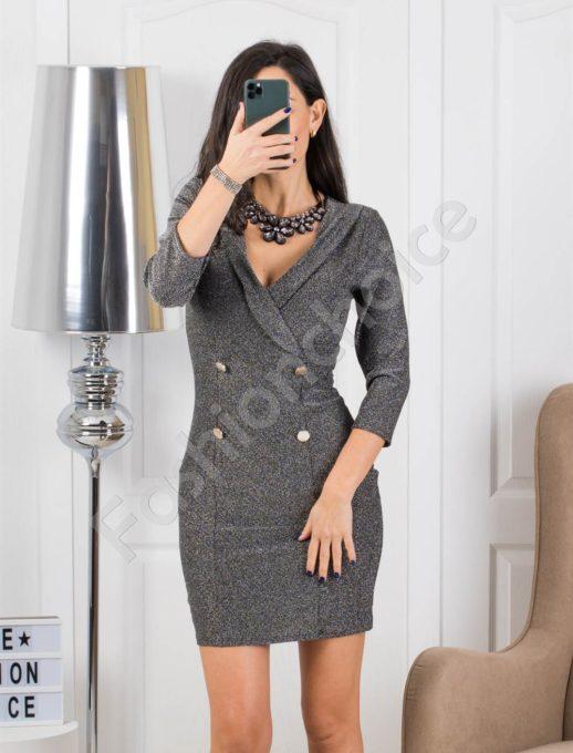 Ασήμι κρουαζέ φόρεμα lurex με διπλά κουμπιά κωδ 326-1
