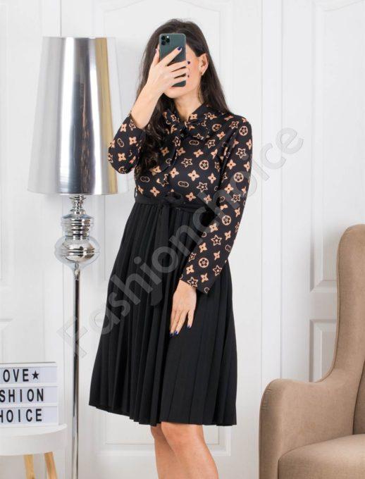 Midi φόρεμα πλισέ με καφέ λεπτομέρεια κωδ 324-1