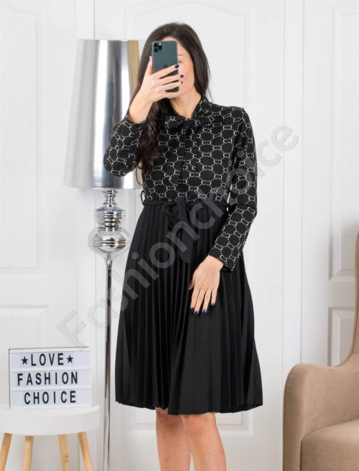 Midi φόρεμα πλισέ με μοτίβο σε λευκο κωδ 324-2