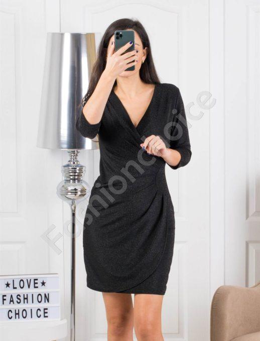 Μαύρο φόρεμα κρουαζέ lurex με πιέτες κωδ 316
