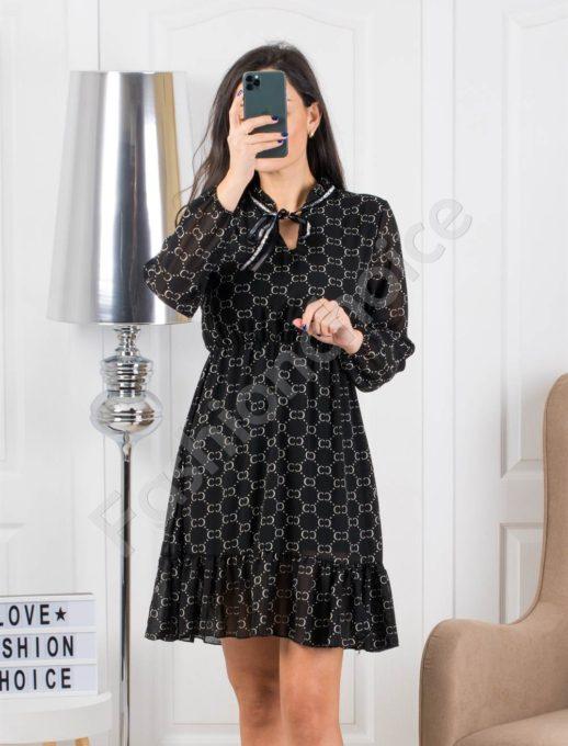 Μαύρο φόρεμα με σχέδια και βολάν κωδ 323
