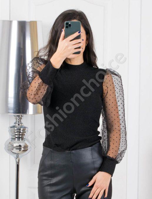 Μπλούζα με See Through μανίκια σε μαύρο κωδ 321