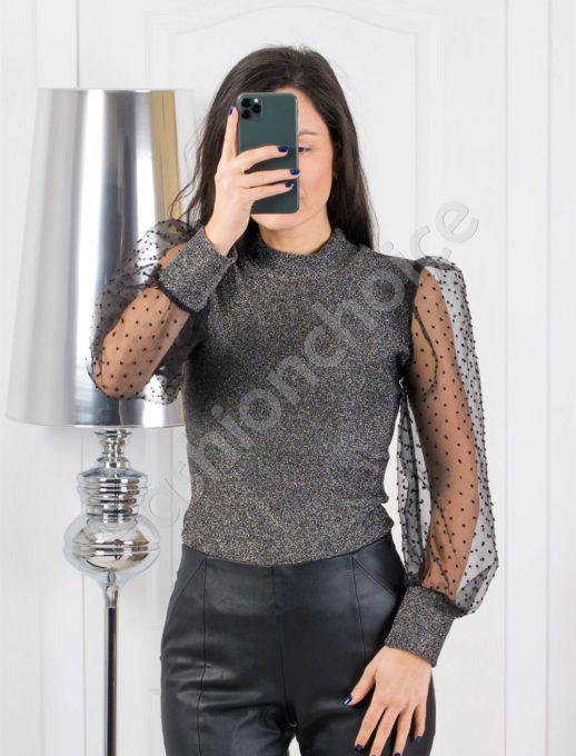 Μπλούζα lourex με See Through μανίκια σε ασήμι κωδ 321-1