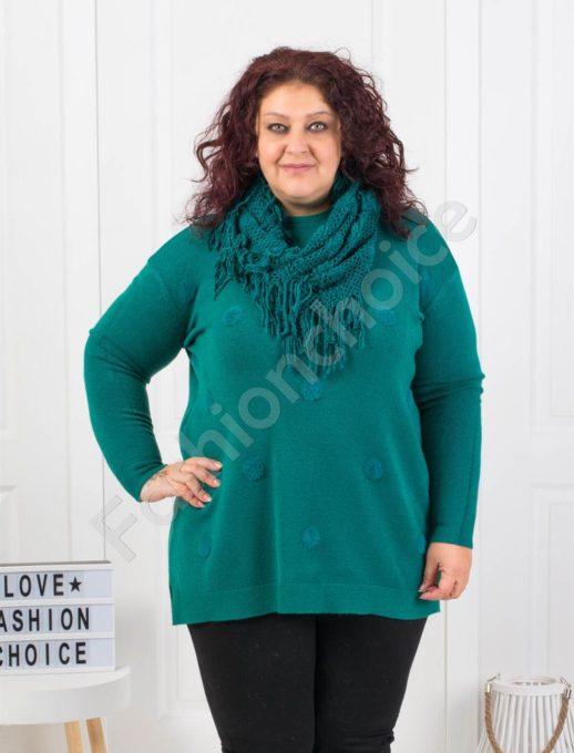 Μπλούζα σε πράσινο με ανάγλυφα πουά και δώρο κασκόλ κωδ 095-2