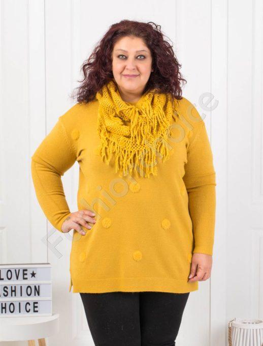 Μπλούζα σε κίτρινο με ανάγλυφα πουά και δώρο κασκόλ κωδ 095-4