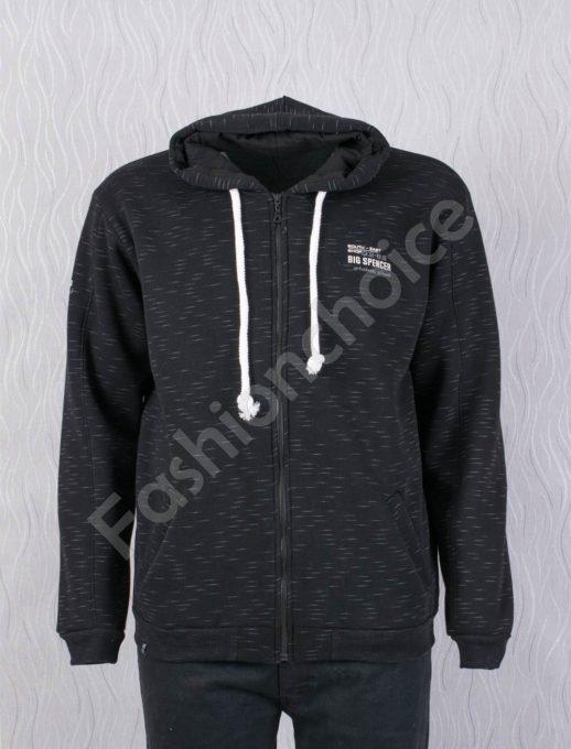 Ζακέτα φούτερ plus size σε μαύρο με γκρι σχέδιο κωδ 6049-3