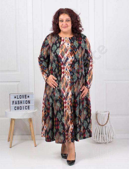 Χακί φόρεμα με χρωματιστούς ρόμβους κωδ 6085-42