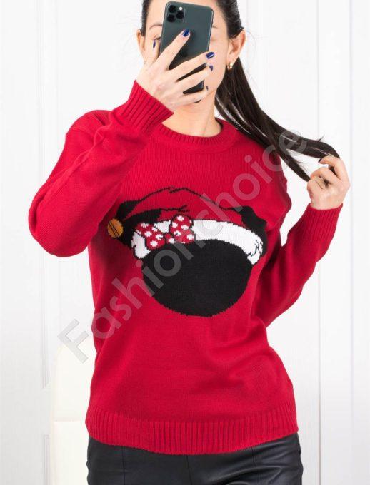 Χριστουγεννιάτικο πουλόβερ με σκούφο σε κόκκινο κωδ 1375-1