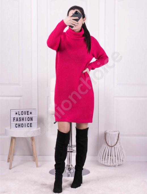 Μπλουζοφόρεμα ριπ πλεκτο σε φούξια κωδ 1377-5