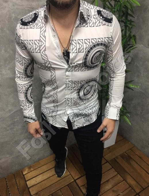 Λεύκο πουκάμισο με γεωμετρικά σχέδια κωδ 1389-2