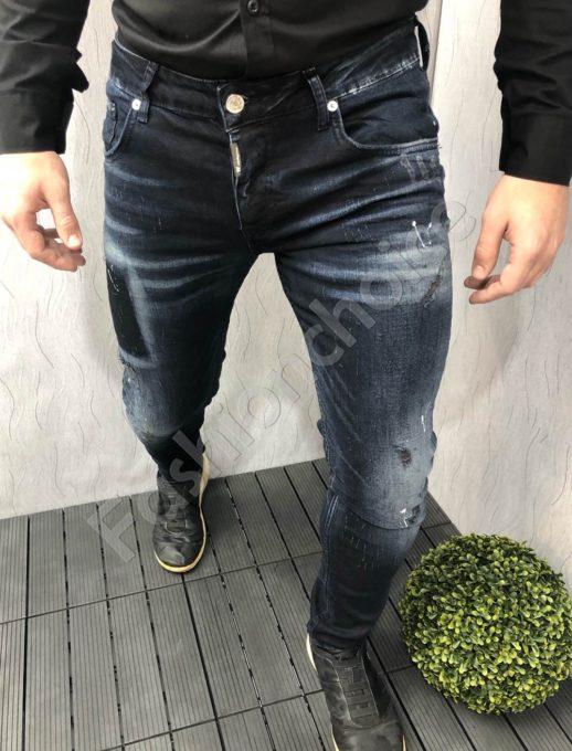 Ανδρικόμπλε σκούρο τζιν παντελόνι κωδ 2393