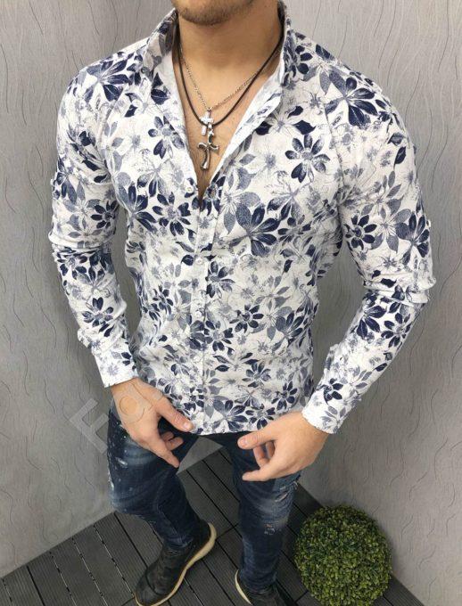 Λεύκο πουκάμισο με floral σε μπλε κωδ 1395-3