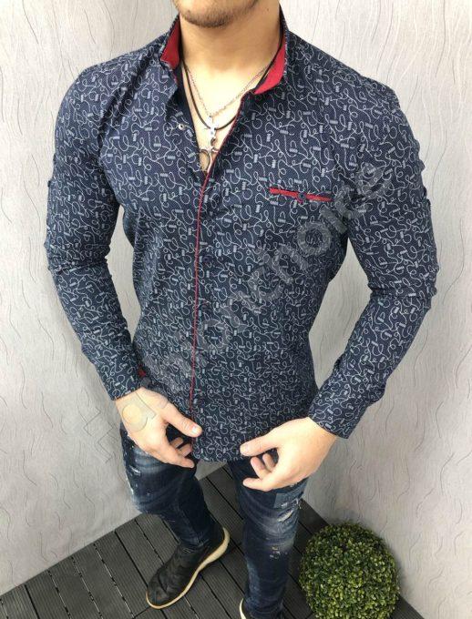 Μπλε πουκάμισο με κόκκινη λεπτομέρεια κωδ 1395