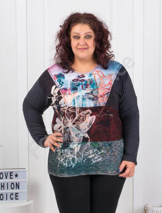 Plus size μπλούζα με τύπωμα πεταλούδες και επιγραφές κωδ 6649