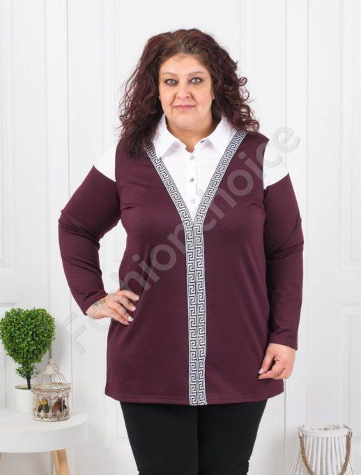 Τουνίκ τύπου πουκάμισο σε μπορντό κωδ 1168