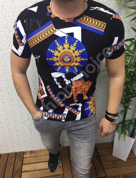 Μαύρη μπλούζα με χρωματιστό τύπωμα κωδ 663
