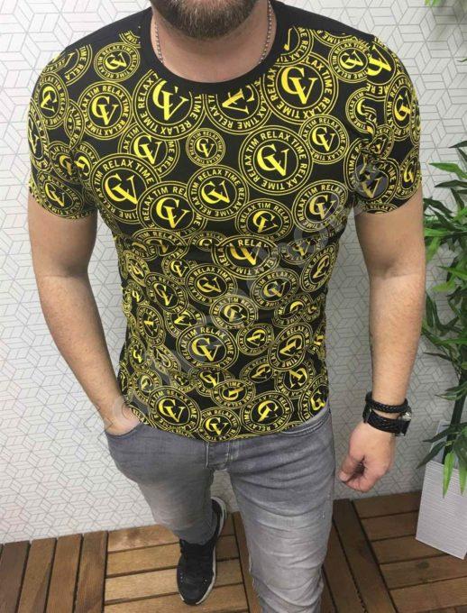 Μαύρο T-shirt με print GV σε κίτρινο κωδ 722