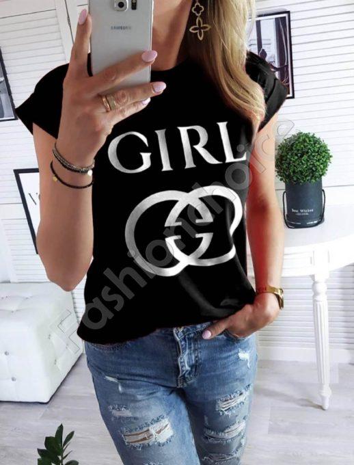Μαύρο T-shirt με τύπωμα και επιγραφή κωδ 879-2