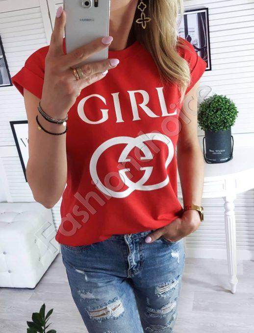 Κόκκινο T-shirt με τύπωμα και επιγραφή κωδ 879-2-2