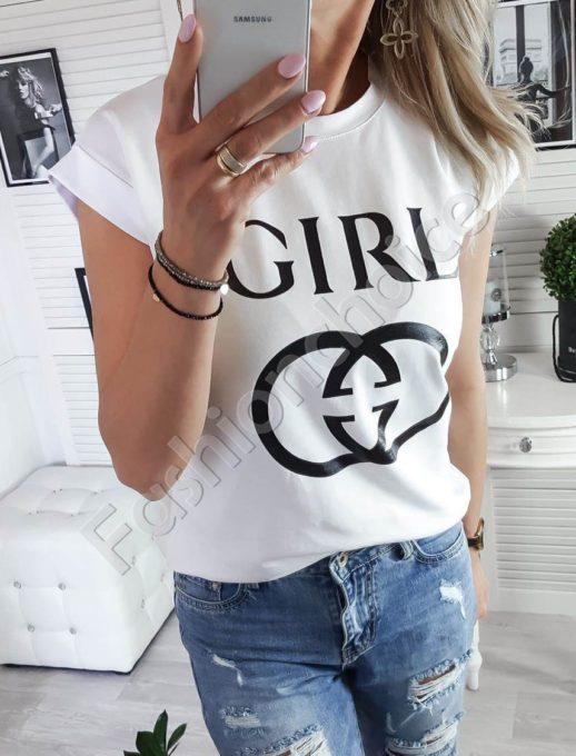 Λευκό T-shirt με τύπωμα και επιγραφή κωδ 879-2-1