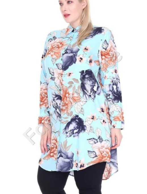 Φλοράλ πουκαμίσα μεγάλο μέγεθος σε χρώμα μέντα κωδ 1413-11