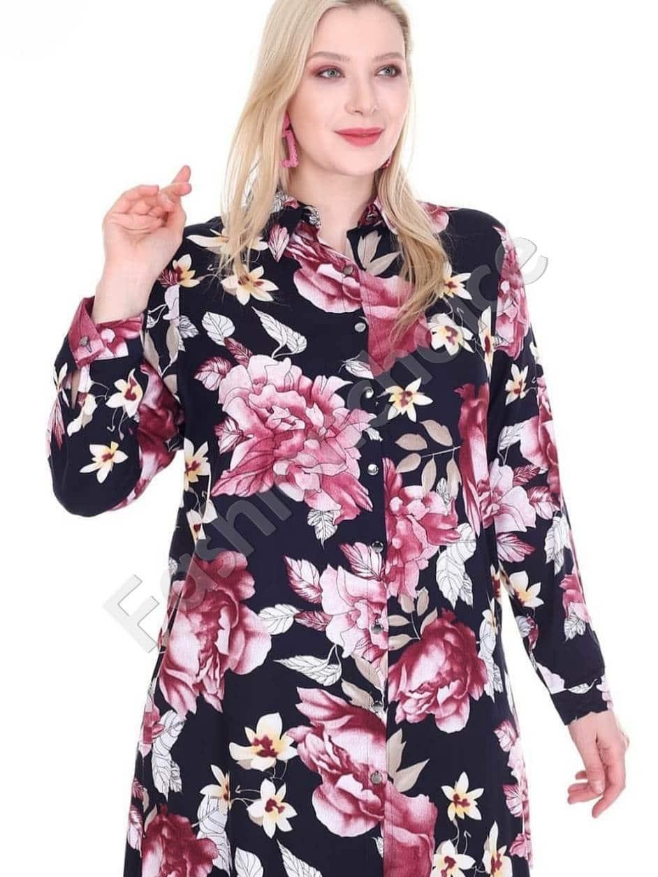 Φλοράλ πουκαμίσα μεγάλο μέγεθος σε μαύρο χρώμα κωδ 1413-10