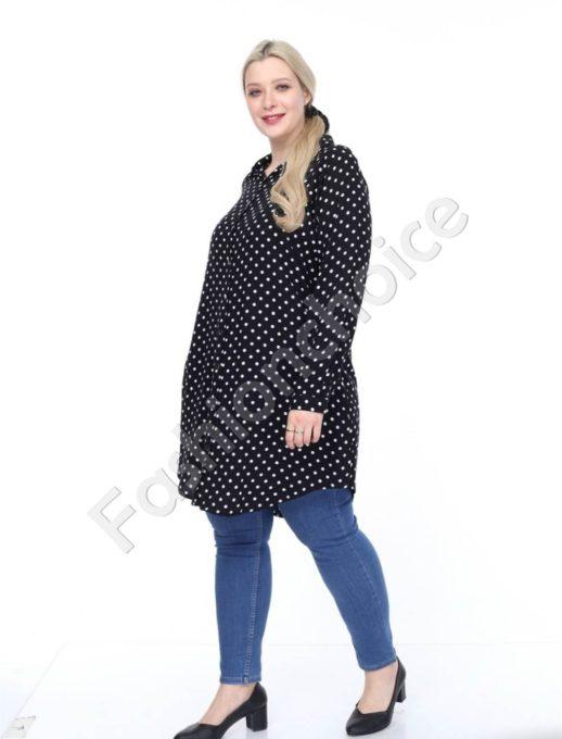 Μαύρη πουκαμίσα μεγάλο μέγεθος με πουά κωδ 1413