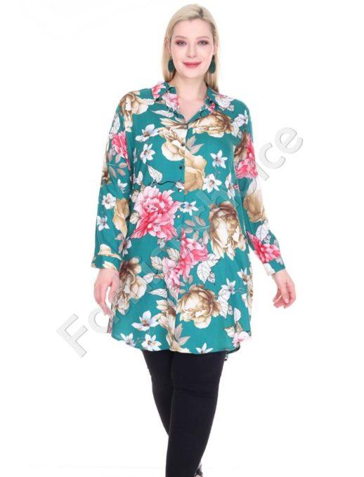 Φλοράλ πουκαμίσα μεγάλο μέγεθος σε πράσινο χρώμα κωδ 1413-12
