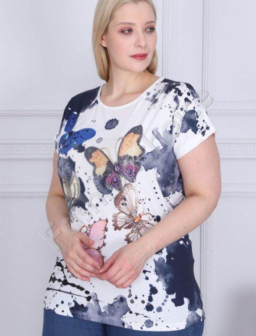 Μεγάλο μέγεθος κοντομάνικη μπλούζα με πιτσιλιές κωδ 880-2