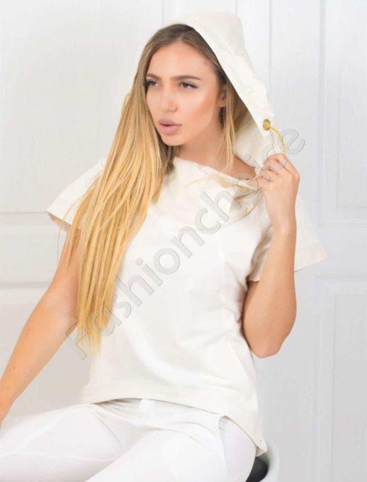 Μπλούζα σε λευκό με κουκούλα κωδ 067-1