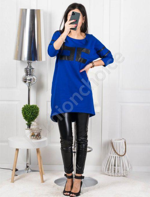 Μπλουζοφόρεμα σε μπλέ με τύπωμα κωδ 4314