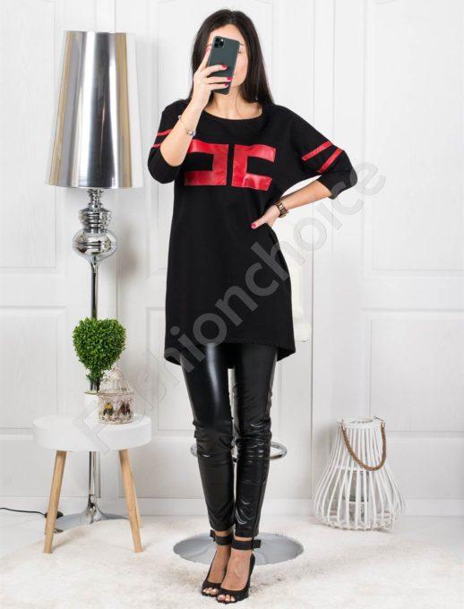 Μπλουζοφόρεμα σε μαύρο με τύπωμα κωδ 4314-2