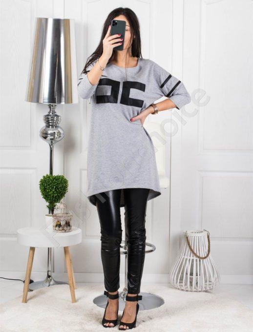 Μπλουζοφόρεμα σε γκρι με τύπωμα κωδ 4314-1