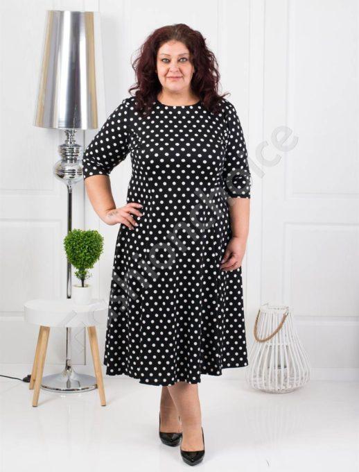 Μαύρο φόρεμα με λευκά πουά κωδ 6085