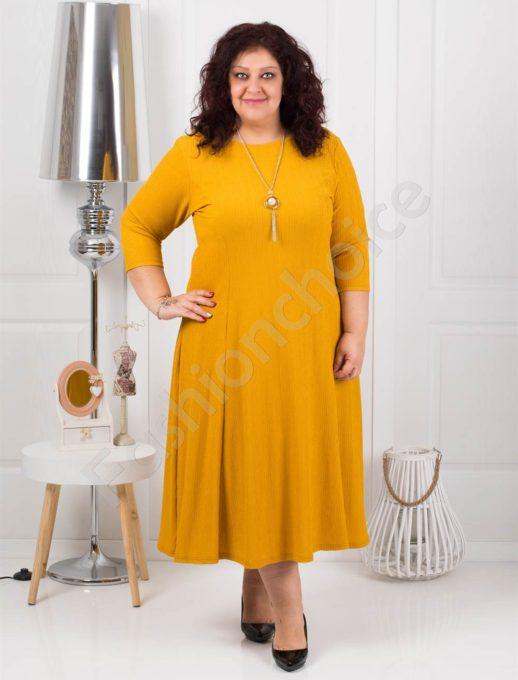 Μεγάλο μέγεθος φόρεμα σε μουσταρδί χρώμα με δώρο κολιέ κωδ 858-4