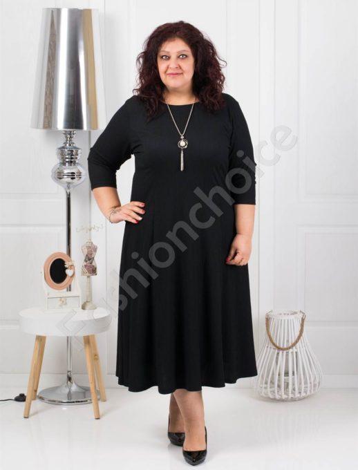 Μεγάλο μέγεθος φόρεμα σε μαύρο με δώρο κολιέ κωδ 858-1