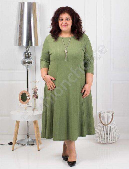 Μεγάλο μέγεθος φόρεμα σε χακί με δώρο κολιέ κωδ 858