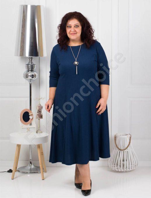 Μεγάλο μέγεθος φόρεμα σκούρο μπλε με δώρο κολιέ κωδ 858-3