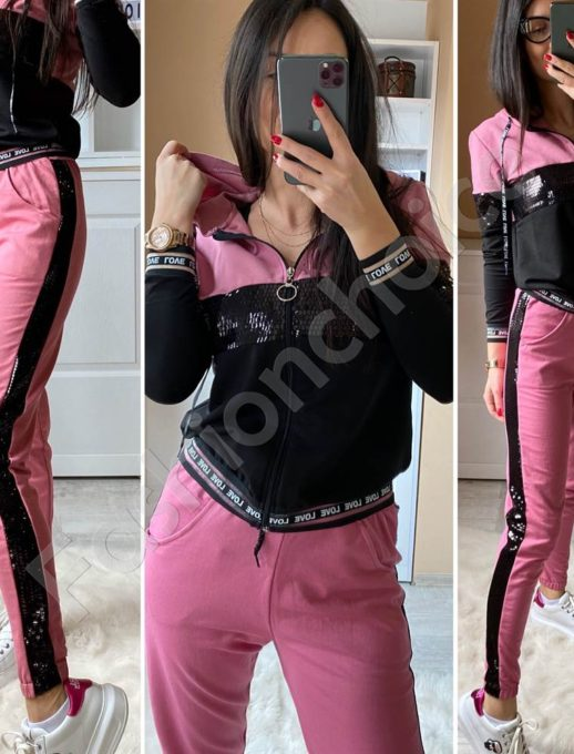 Аθλητικό σετ σε φούξια με παγιέτες κωδ 1422