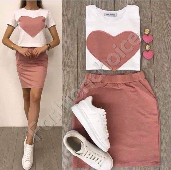 Σετ μπλούζα με pencil φούστα σε ροζ κωδ 999-1