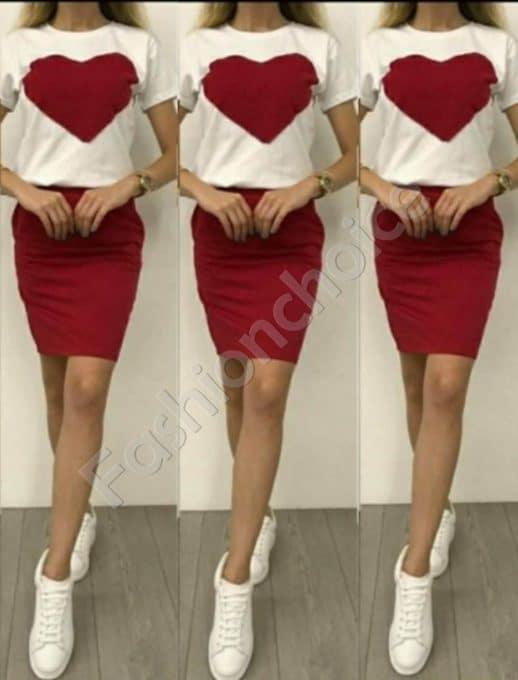 Σετ μπλούζα με pencil φούστα σε κόκκινο κωδ 999-3