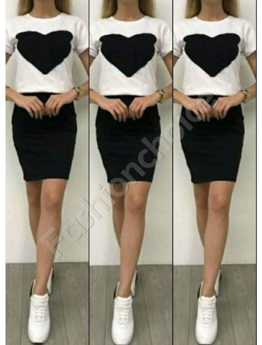 Σετ μπλούζα με pencil φούστα σε μαύρο κωδ 999-2