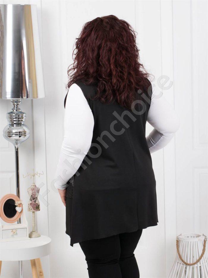 Μαύρο γιλέκο με κορδόνι μεγάλο μέγεθος κωδ 205