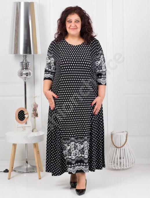 Μεγάλο μέγεθος μακρύ φόρεμα σε μαύρο με πουά κωδ 098