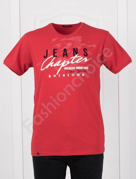 T-shirt σε κόκκινο με επιγραφές κωδ 073-4