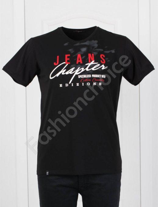 T-shirt σε μαύρο με επιγραφές κωδ 073-2