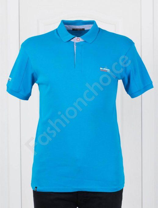 Μπλούζα πόλο σε μπλε μεγάλο μέγεθος κωδ 143-4