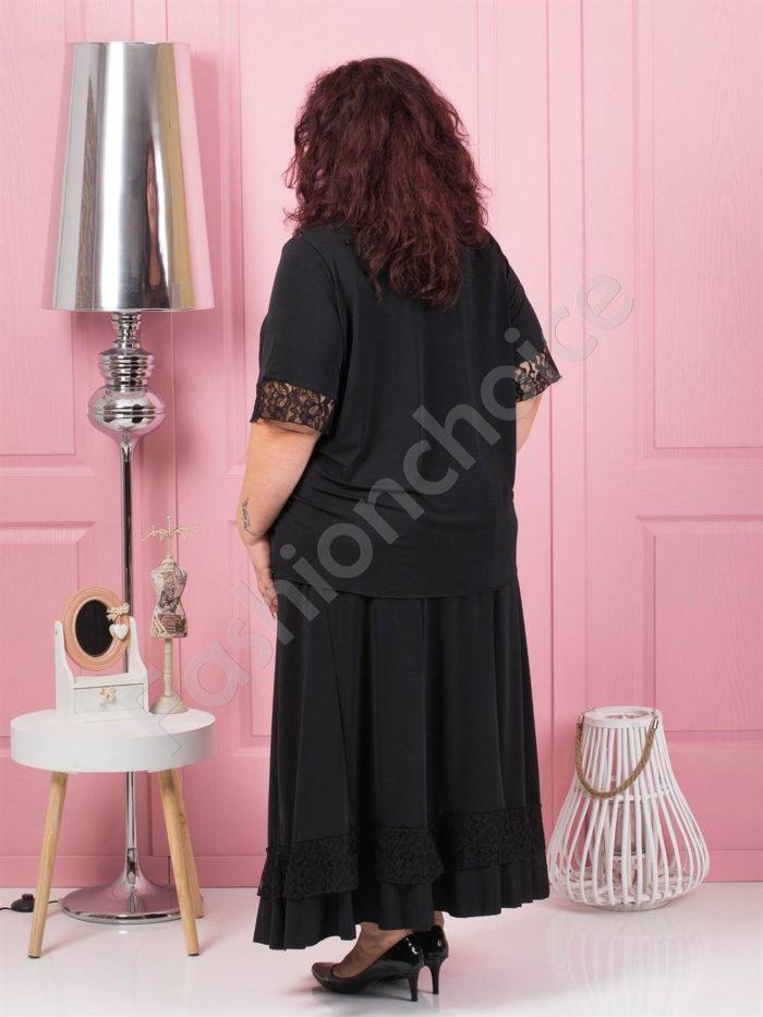 Σετ μπλούζα και φούστα σε μαύρο κωδ 1186